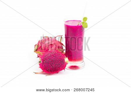 Dragon Fruit Smoothie Isolated On White Background.food Healthy