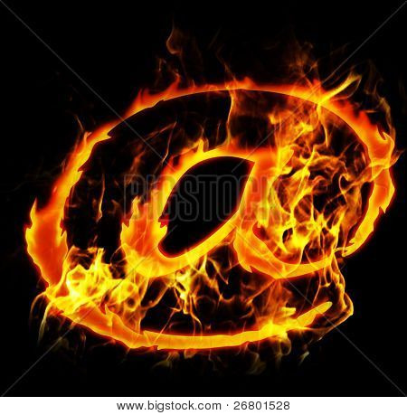 burning internet mail sign abstract fire illustration poster
