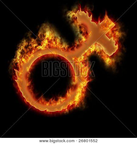 Woman Burning Sign