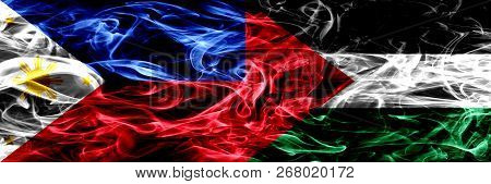 Philippines Vs Palestine, Palestinian Smoke Flags Placed Side By Side. Thick Abstract Colored Silky