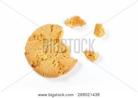 Cookie Isolated On White Background , Close Up.