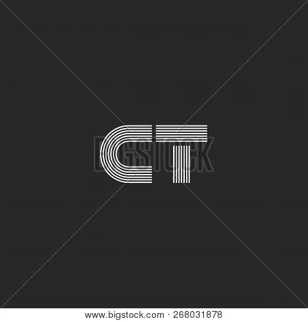 Letters C And T Logo Hipster Monogram, Capital Two Letters Ct Or Tc Wedding Invitation Identity Embl