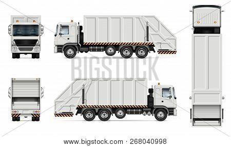 Realistic White Garbage Truck Vector Mockup. Isolated Template Of Dump Lorry On White Background For