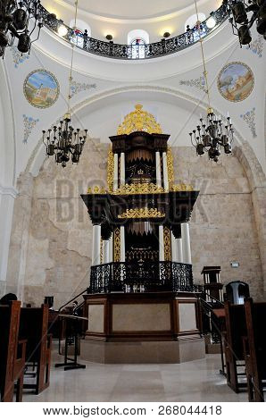 Jerusalem, Israel. January 16, 2011. The Interior Of The Historical Hurva Synagogue In The Jewish Qu