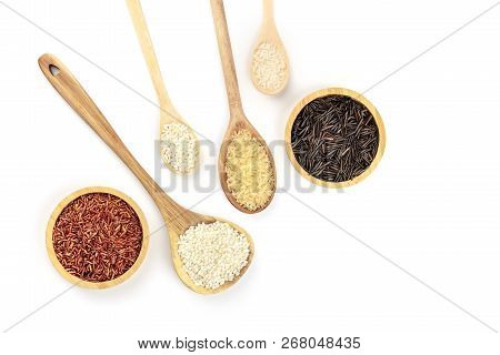 A Photo Of Various Types Of Rice, Shot From The Top On A White Background With Copy Space. White, Re