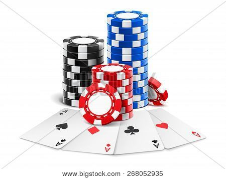 Playing Cards Near Stack Of Casino 3d Chips Or Aces Of Spades, Diamond, Hearts And Clubs Near Realis