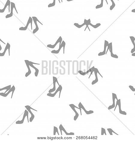 Seamless Pattern. Female Pairs Of Shoes With High Heels.