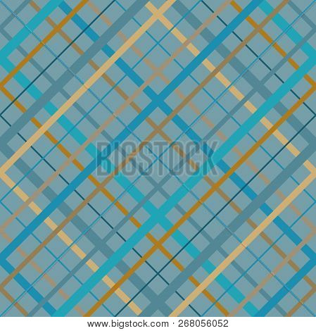 Seamless Cross Lines Madras Pattern. Diagonal Seamless Texture As A Tartan Plaid In Various Beige Bl