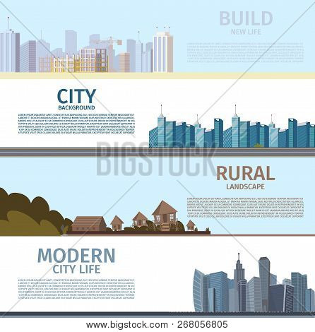 Vector Drawing Image Collection Of Cityscape Sets. Banner Vector Illustration Of A Cartoon Set Of Im