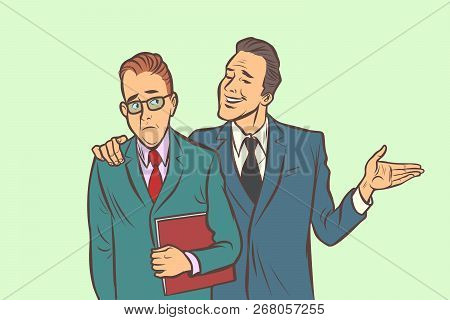 One Businessman Comforts Supports Sympathetic Feels Other Sad. Comic Cartoon Pop Art Retro Vector Il