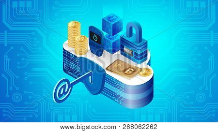 Concept Of Cloud Financial System Security. Isometric Projection Of Vector Illustration Security Of