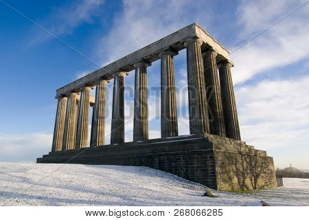 The National Monument On Calton Hill In Winter, Edinburgh, Scotland