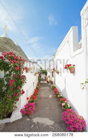 Alberobello, Apulia, Italy - Streets Full Of Flowers Within The Traditional Buildings