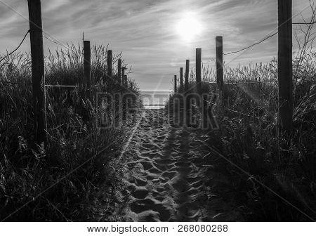 Sun Going Down At Praia America-lourido, Nigran, Spain. Black And White Edition