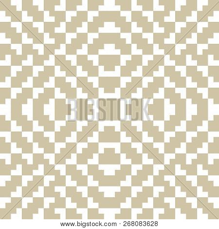 Golden Vector Seamless Pattern. Traditional Geometric Folklore Ornament. Tribal Ethnic Motif. Orname