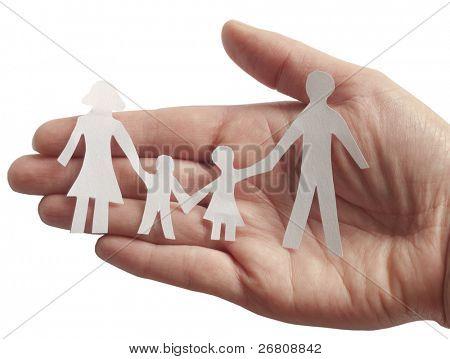 family in female hand