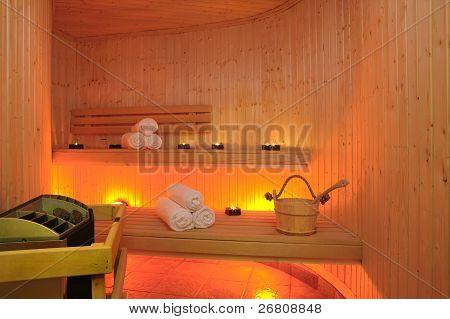 Interior Of Finnish Sauna