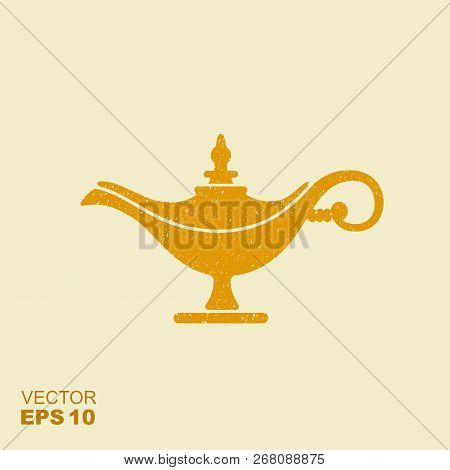 Middle East Oil Lamp. Vector Flat Icon With Scuffed Effect