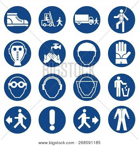 Set Of Safety Equipment Signs. Mandatory Construction And Industry Signs. Collection Of Safety And H