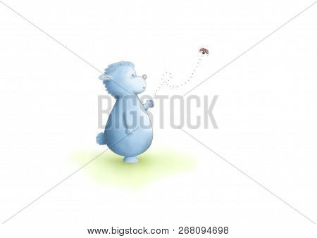 Cute Hand Drawn Illustration Of Blue Fantasy Animal Standing, Looking At Flying Ladybug, On White Ba