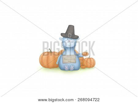 Cute Hand Draw Illustration Of Blue Fantasy Animal, Sitting Down With Pumpkins And Sign With Text Ha