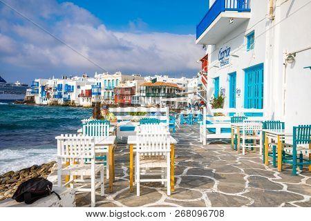 Mykonos, Greece - 17.10.2018: Famous Mykonos Town Colorfull Little Venice, Mykonos Island, Cyclades