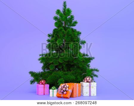Christmas Tree With Presents Isolated On Blue Background.gift Boxes With Fir-tree.3d Render.