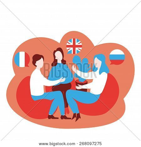 Flat Speaking Club And Discussion Class. Multilingual Cartoon Students Learn English, French And Rus