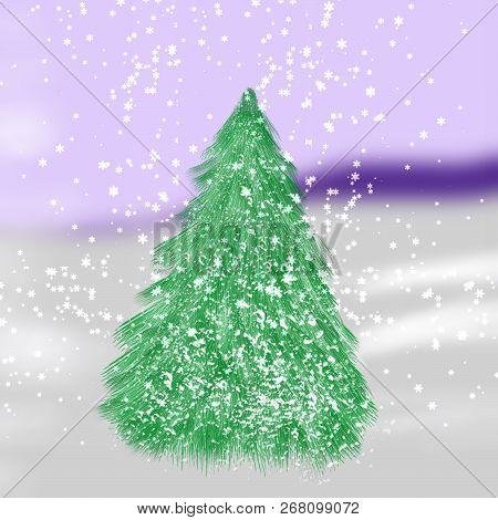 Christmas Tree On Snow Background. Happy Holidays Landscape.