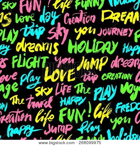 Seamless Pattern With Different Colors Words Love, Fun, Sky, Travel, Holiday And Other. Modern Brush