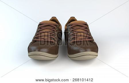 Isolated Brown Sneakers Close Up On White Background