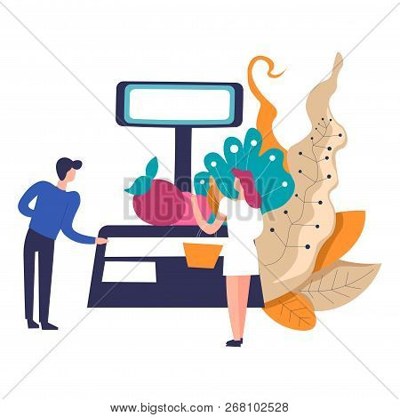 Counter Of Salesperson, Weight And Apple With Leaves