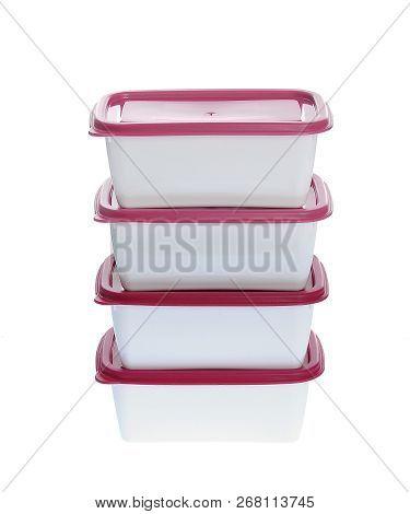 4 Caserola, Plastic Boxes Set With Lids, Isolated On White Background