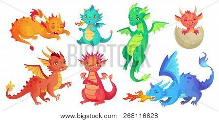 Dragon Kids. Fantasy Baby Dragons, Funny Fairytale Reptile And Medieval Legends Fire Breathing Serpe