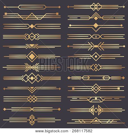 Art Deco Divider. Gold Retro Arts Border, 1920s Decorative Ornaments And Golden Dividers Borders Vec