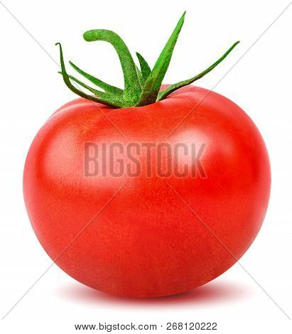 Isolated Tomato. One Whole Tomato Isolated On White Background With Clipping Path