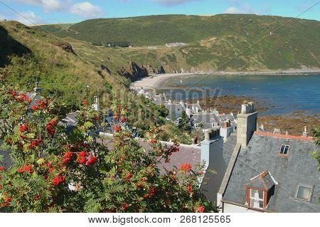 Roofs Of Seatown, Gardenstown And Gamrie Bay And Cliffs In The Distance.
