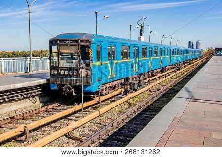 A Train With Passengers Of The Kiev Metro At The Station Kiev, Ukraine 06.11.2018