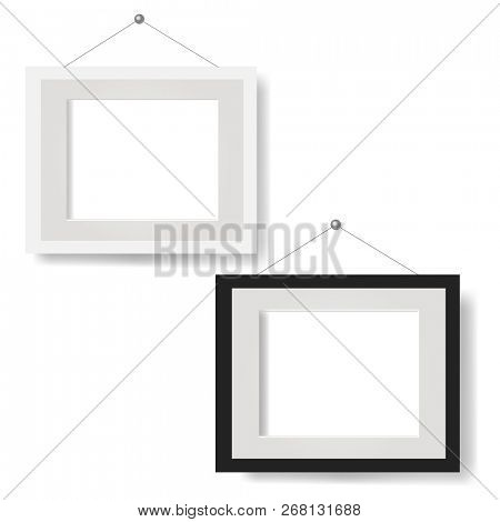 White Picture Frame Set Isolated White Background