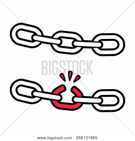 Stong And Broken Chain Illustration, Weak Link Concept. Isolated Vector Icon.