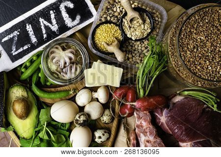 Foods High In Zinc Background Top View