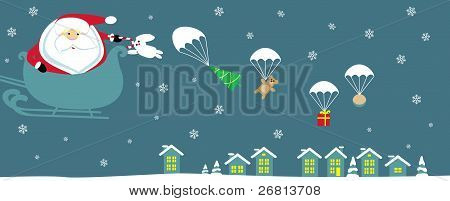 Cartoon Santa with bell in sleight dropping presents with parachutes