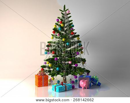 Decorated With Multicolored Balls And Toys Pigs Christmas Tree With Gifts And Piggy Bank.3d Renderin