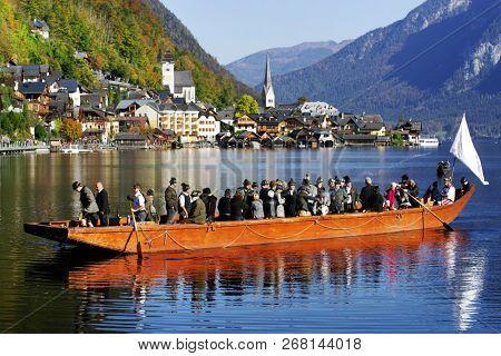 HALLSTATT, AUSTRIA, EUROPE - 16 OCTOBER 2018: Boat in Hallstatt mountain village, Salzkammergut region, Austria, Europe