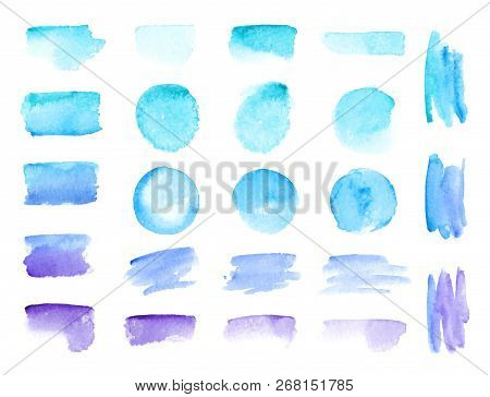 Colorful Vector Watercolor Brush Strokes. Rainbow Colors Watercolor Paint Stains Vector Banner Backg
