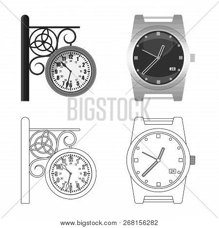 Vector Illustration Of Clock And Time Symbol. Set Of Clock And Circle Stock Vector Illustration.