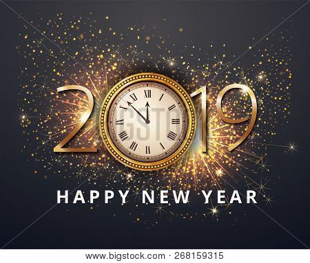 Vector Stock Gold 2019 Christmas Or New Year Celebration Premium Luxury Dark Background With Clock M