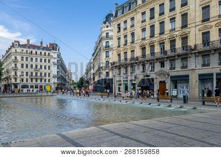 Lyon, France - July 19, 2018: The Square Of The Republic Is A Square Located In The Bellecour Quarte