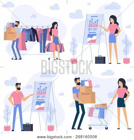 Young Man And Woman At Shopping. Flat Desin Vector Concept Set. Ready For Animation Characters And D