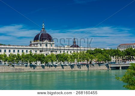 Rhone River And Hotel-dieu. Hotel-dieu Was A Hospital Of Historical Significance On The West Bank Of